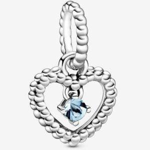 📿Pandora  Aqua Blue Beaded Heart Dangle Charm